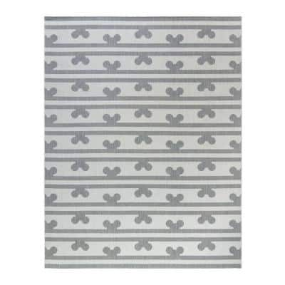 Mickey Mouse Peek A Boo Gray/Cream 9 ft. x 13 ft. Striped Indoor/Outdoor Area Rug