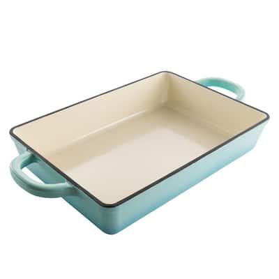 Crock Pot Artisan 13 in. Rectangular Enameled Cast Iron Bake Pan in Aqua Blue