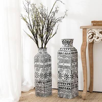 Global/Boho Textured Metal Table/Floor Vase (Set of 2)