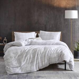 Holden Grid 3-Piece Gray Cotton King Duvet Set