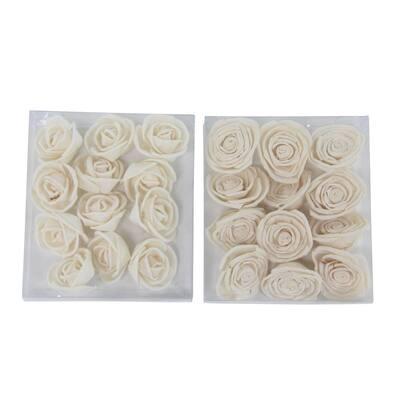 White Sola Boxed Rose Flowers (Set of 2)