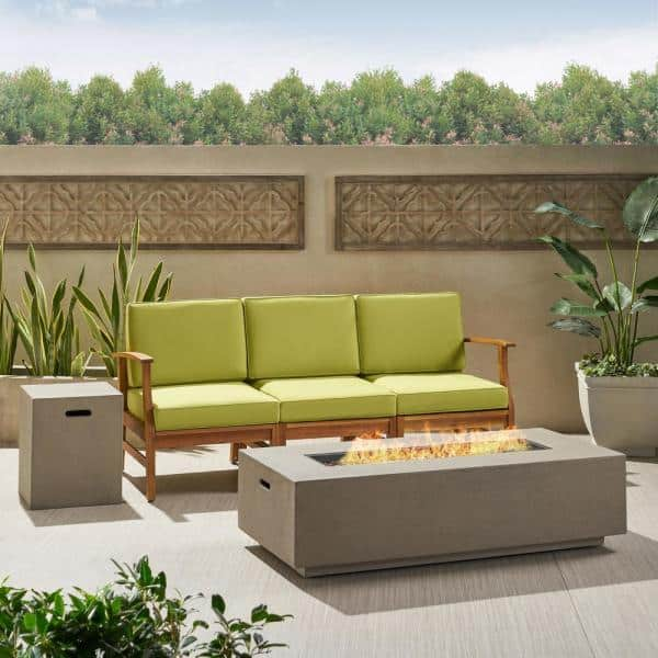 Noble House Perla Teak Brown 5 Piece Wood Patio Fire Pit Seating Set With Green Cushions 53218 The Home Depot