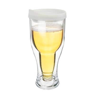 White Lid 14 oz. Double Wall Acrylic Beer Tumbler