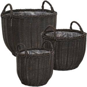 Round Short Polyrattan Basket Planter with Handles (Set of 3)