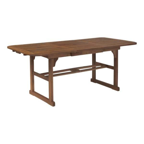 Walker Edison Furniture Company - Boardwalk Dark Brown Acacia Wood Extendable Outdoor Dining Table
