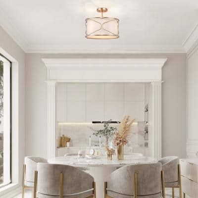 Modern Drum Ceiling Light Imogen 16 in. 3-Light Brass Gold Round Semi-Flush Mount Light with Fabric Shade