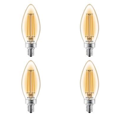 40-Watt Equivalent B11 Dimmable Vintage Edison LED Candle Light Bulb Candelabra Base Amber Warm White (4-Pack)