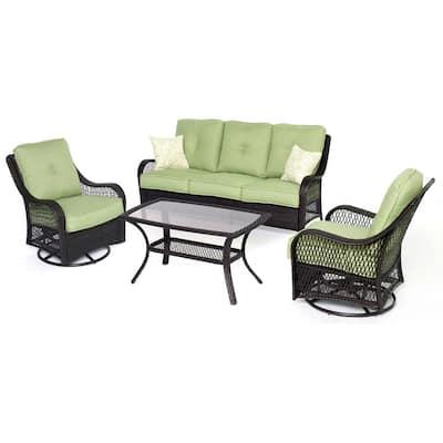 Merritt 4-Piece Steel Outdoor Conversation Set with Green Cushions