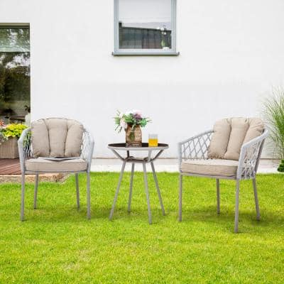 3-Piece Metal Outdoor Rope Weave Bistro Set with Beige Cushion