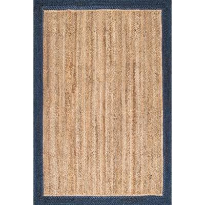 Eleonora Farmhouse Bordered Jute Navy 5 ft. x 8 ft. Area Rug