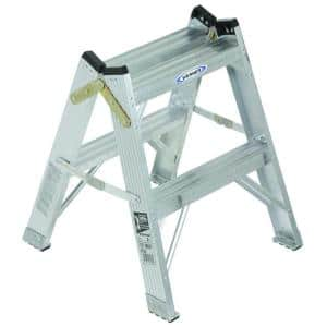 2 ft. Aluminum Twin Step Stool Ladder with 300 lbs. Load Capacity Type IA Duty Rating
