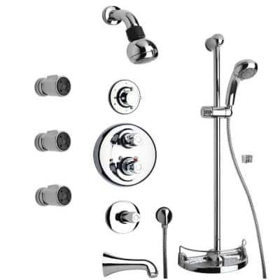 Water Harmony Shower Combination 8 in Chrome