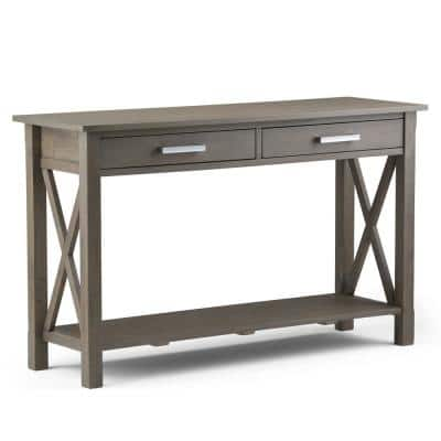 Kitchener 48 in. Farmhouse Gray Rectangle Wood Console Table with Drawers