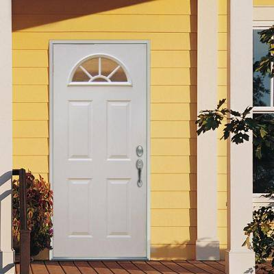 Classic Clear Glass Full Lite Primed White Majestic Steel Prehung Front Door