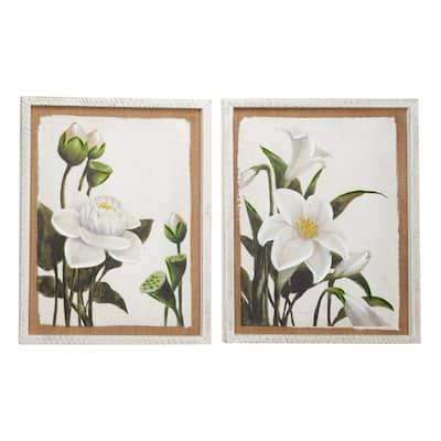 Large White Flowers Framed Wall Art (Set of 2)