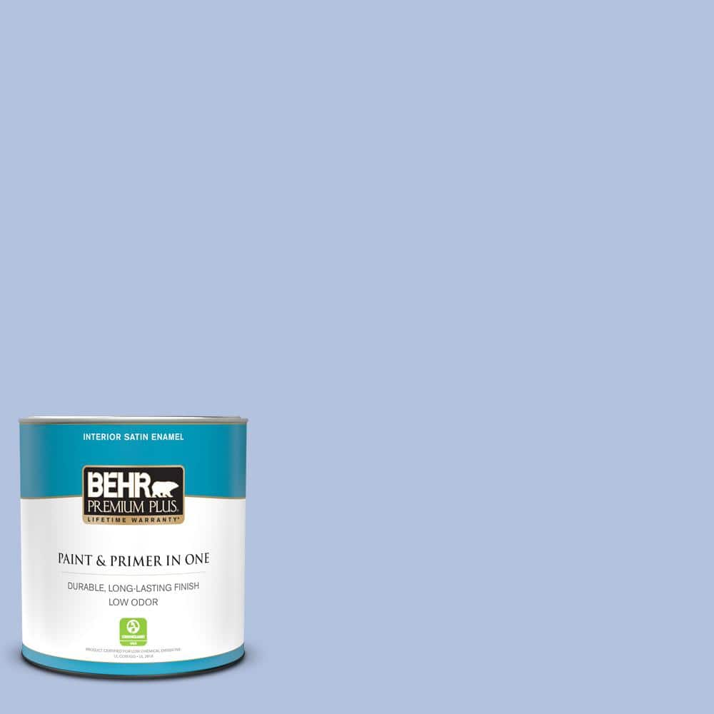 Behr Premium Plus 1 Qt 600c 3 Periwinkle Bud Satin Enamel Low Odor Interior Paint And Primer In One 705004 The Home Depot