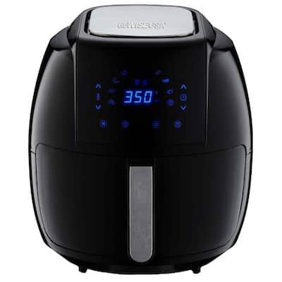 8-in-1 7.0 Qt. Black Electric Air Fryer with Recipe Book
