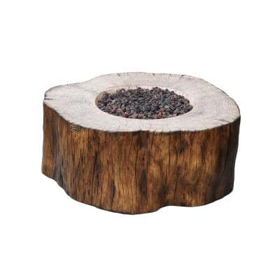 Manchester 42 in. x 39 in. x 17 in. Irregular Round Concrete Propane Fire Pit Table in Redwood