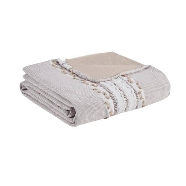 Ink Ivy Lennon 3 Piece Taupe Full Queen Organic Cotton Jacquard Duvet Cover Set Ii12 1083 The Home Depot
