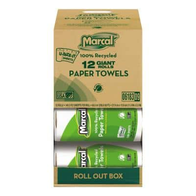 100% Recycled Roll Towels 2-Ply 5 1/2 x 11 (140 Sheets per Roll, 12 Rolls per Carton)