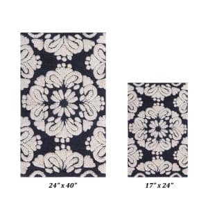 Medallion Collection Charcol/Ivory 2-Piece - 24 in. x 40 in. ./17 in. x 24 in. 100% Cotton Bath Mat Set