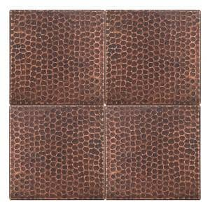 6 in. x 6 in. Hammered Copper Decorative Wall Tile in Oil Rubbed Bronze (4-Pack)