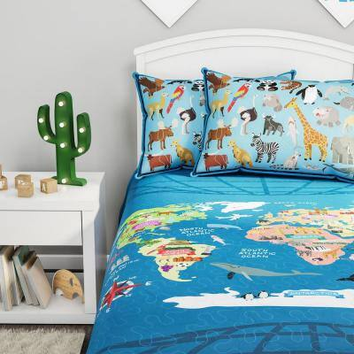 Blue Landmark and Animal World Map Twin XL Bedspread and 2-Pillow Shams Piece Comforter Set