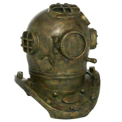 13 in. x 16 in. Antique Gold Polystone Diving Helmet Sculpture