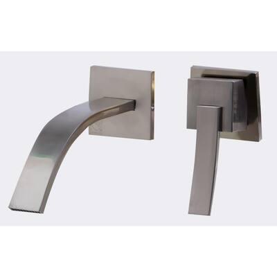 Single-Handle Wall Mount Bathroom Faucet in Brushed Nickel