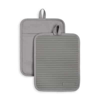 Ribbed Soft Silicone Gray Pot Holder 2 Pack