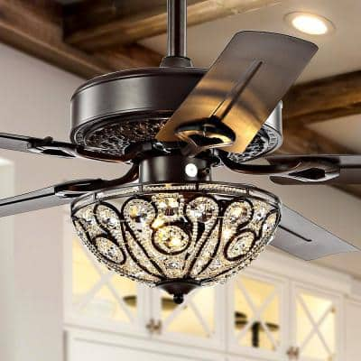 Ali 48 in. Oil Rubbed Bronze 3-Light Wrought Iron LED Ceiling Fan with Light and Remote