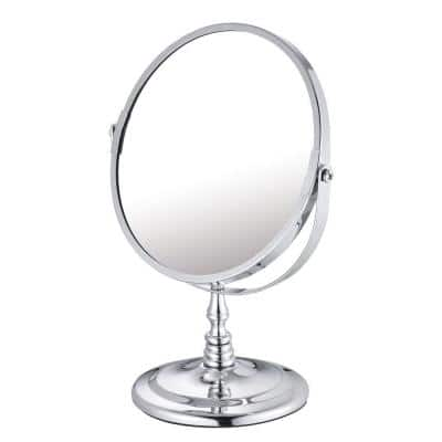 5.875 in. x 9.625 in. Round Chrome-Plated Countertop Bi-View Vanity Makeup Mirror in Silver
