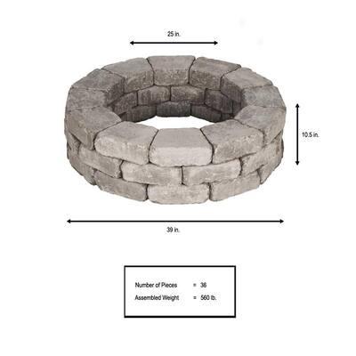 RumbleStone 39 in. x 10.5 in. Tree Ring Kit in Greystone