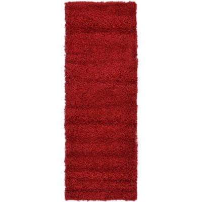 Solid Shag Cherry Red 6 ft. Runner Rug