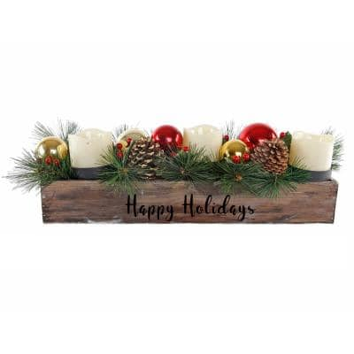 23 in. L Wood Happy Holidays Ledge Candle Holder with Pinecones and Berries