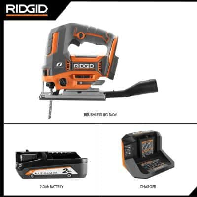 18V OCTANE Brushless Cordless Jig Saw Kit with Dust Port, (1) 2.0 Ah Battery and Charger