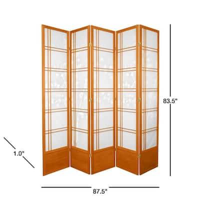 7 ft. Honey 5-Panel Room Divider
