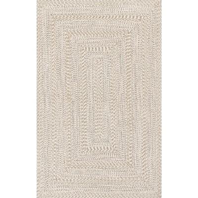 Rowan Braided Texture Ivory 5 ft. x 8 ft. Indoor/Outdoor Area Rug