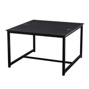 47.2 in. W Rectangular Black MDF Desktop Solid Steel Frame Writing Desk Extra Large Double Workstation Desk