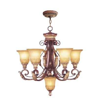 Villa Verona 6 Light Verona Bronze with Aged Gold Leaf Accents Chandelier