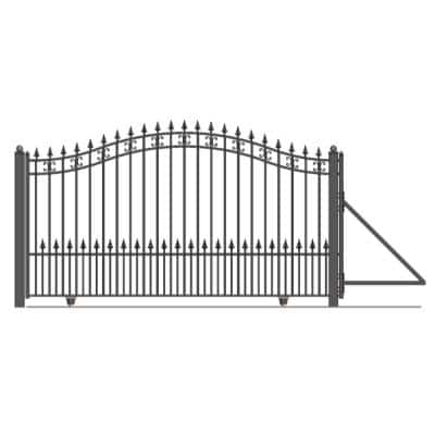 St. Petersburg Style 14 ft. W x 6 ft. H Black Steel Single Slide Driveway with Gate Opener Fence Gate
