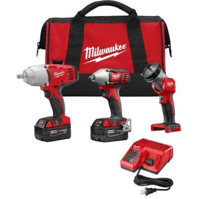M18 18-Volt Lithium-Ion Cordless Combo Tool Kit (3-Tool) with (2) 3.0 Ah Batteries, (1) Charger, (1) Tool Bag