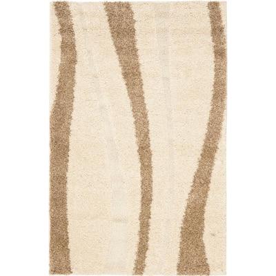 Florida Shag Cream/Dark Brown 3 ft. x 5 ft. Striped Area Rug