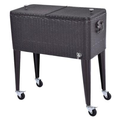 80 Qt. Rattan Party Portable Ice Beer Beverage Outdoor Rolling Chest Cooler Cart