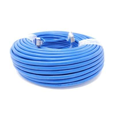 100 ft. CAT 7 SFTP 26AWG Double Shielded RJ45 Snagless Ethernet Cable, Blue