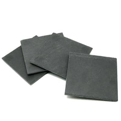 Natural Dark Gray Slate Coaster 4 in. x 4 in. (Set of 4)
