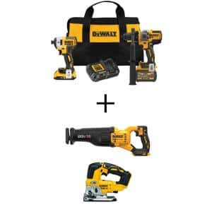 20V MAX Cordless Brushless Hammer Drill/Driver Combo Kit (2-Tool) with 20V Reciprocating Saw and 20V Jigsaw (Tools-Only)