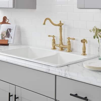 Lyndhurst 2-Handle Bridge Kitchen Faucet with Side Sprayer in Matte Gold