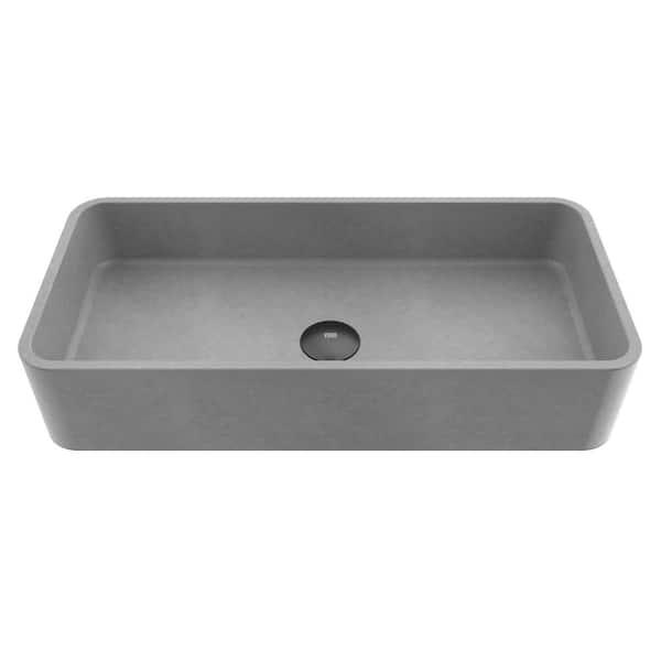 Vigo Concreto Stone 24 In Concrete Rectangular Vessel Bathroom Sink In Gray Vg04060 The Home Depot