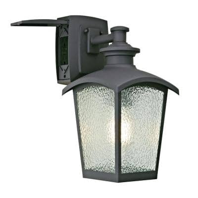 1-Light Graphite Gray Outdoor Coach Light Sconce with Seeded Glass and Built-In GFCI Outlets
